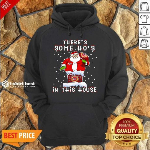 Official Kansas City Chiefs Christmas There Is Some Hos In This House Santa Stuck In The Chimney NFL Youth Hoodie - Design By 1tees.com
