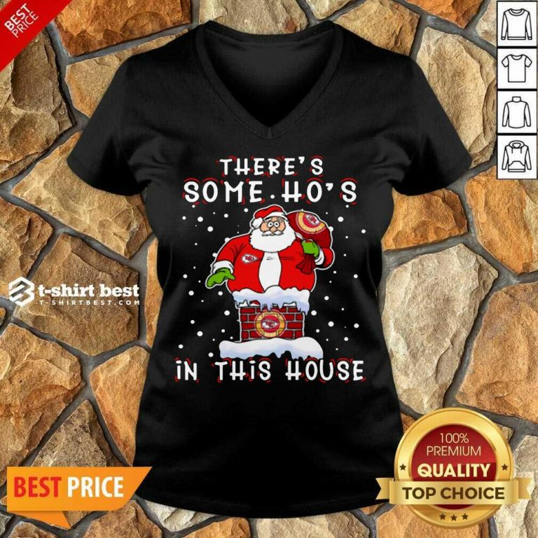 Kansas City Chiefs Christmas There Is Some Hos In This House Santa Stuck In The Chimney NFL Youth V-neck - Design By 1tees.com