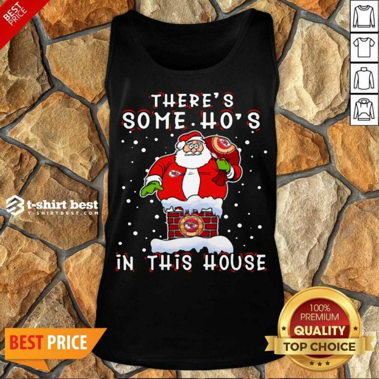 Kansas City Chiefs Christmas There Is Some Hos In This House Santa Stuck In The Chimney NFL Youth Tank Top - Design By 1tees.com