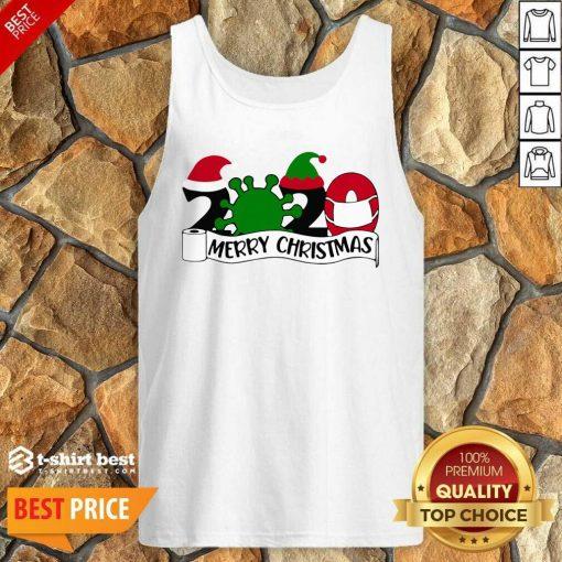 Merry Christmas 2020 Santa Elf Coronavirus Tank Top - Design By 1tees.com