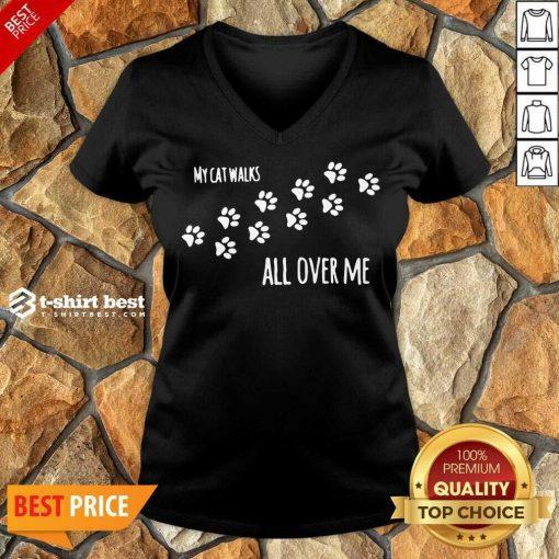 My Cat Walks All Over Me Pet V-neck - Design By 1tees.com