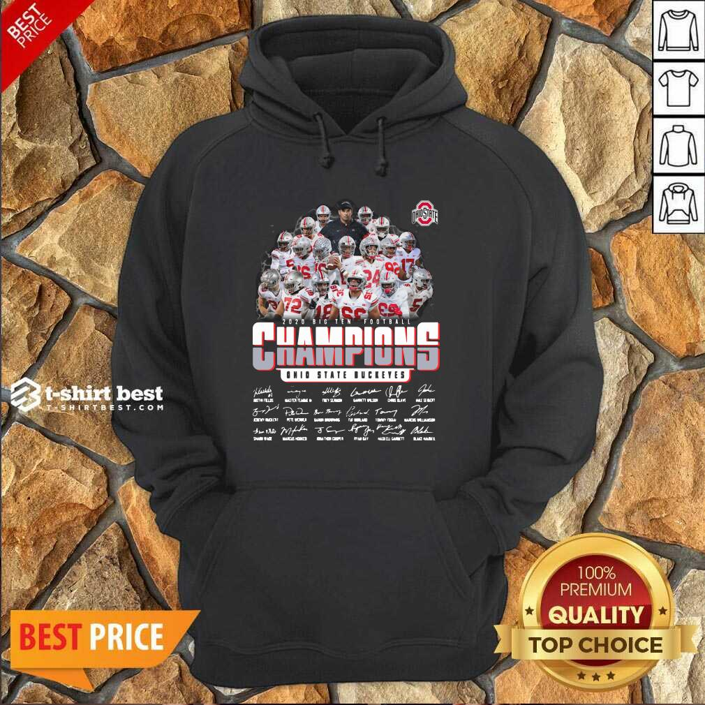 Ohio State Buckeyes 2020 Big Ten Football Champions Signatures Hoodie - Design By 1tees.com