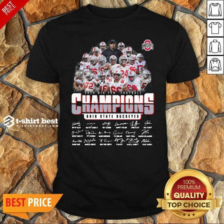 Ohio State Buckeyes 2020 Big Ten Football Champions Signatures Shirt - Design By 1tees.com