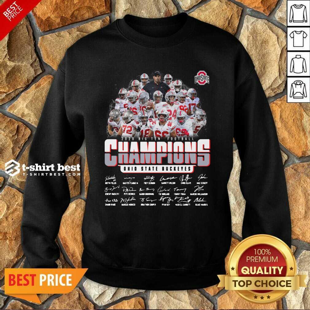 Ohio State Buckeyes 2020 Big Ten Football Champions Signatures Sweatshirt - Design By 1tees.com