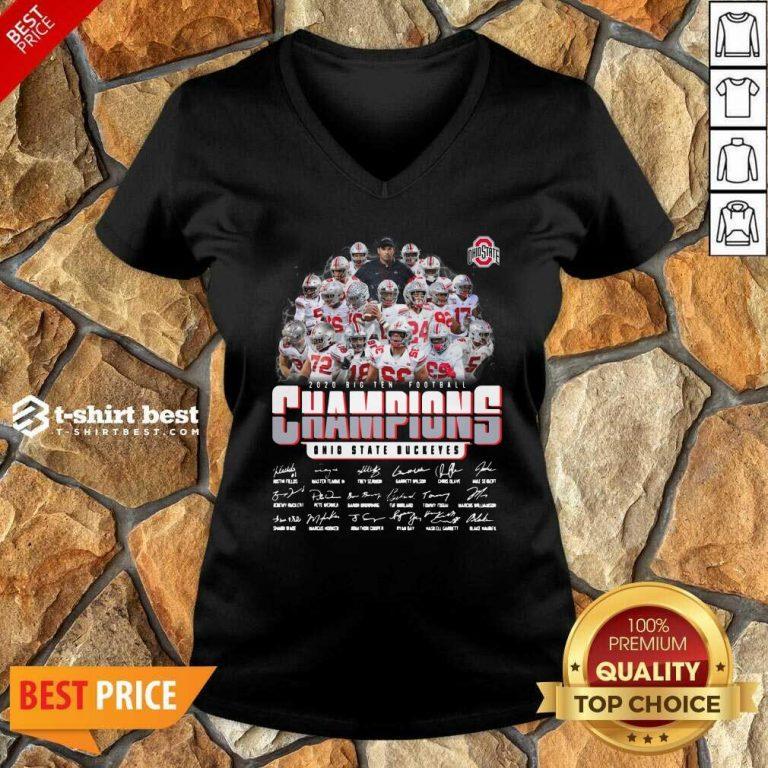 Ohio State Buckeyes 2020 Big Ten Football Champions Signatures V-neck - Design By 1tees.com
