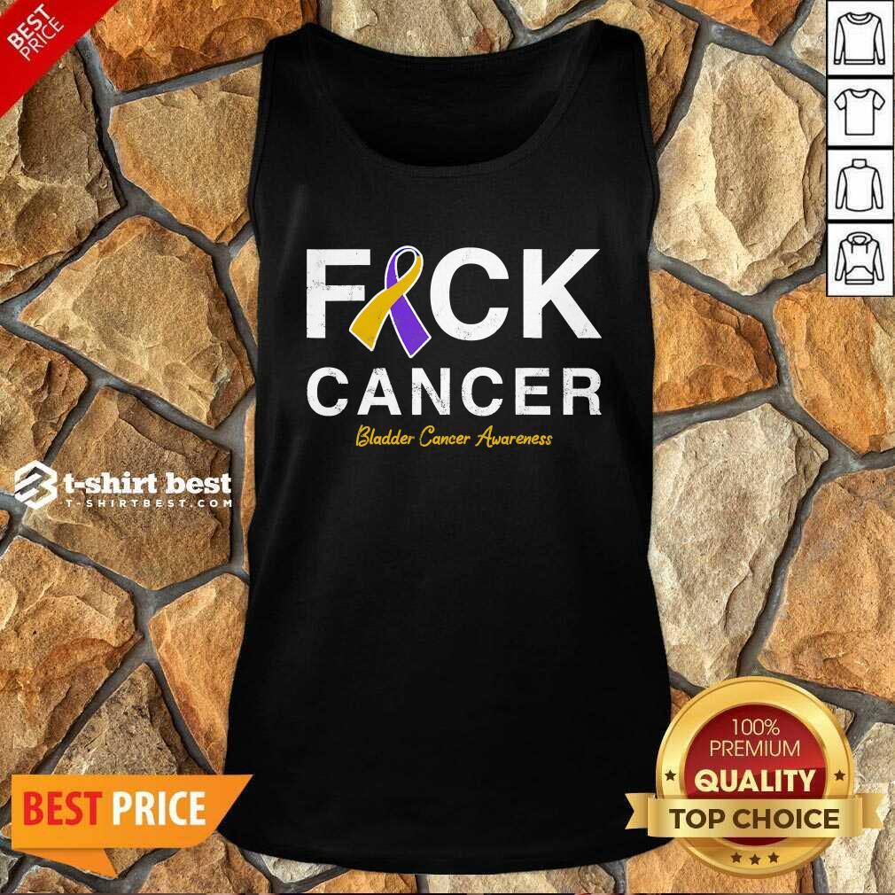 Raise Support Bladder Ribbon Cancer Awareness Pun Tank Top - Design By 1tees.com