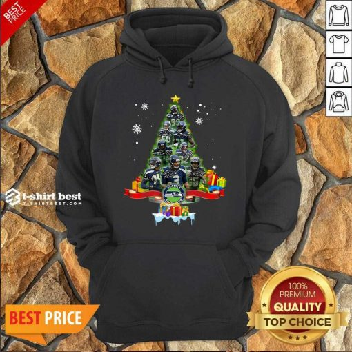 Seattle Seahawks Player Signatures Christmas Tree Hoodie- Design By 1tees.com