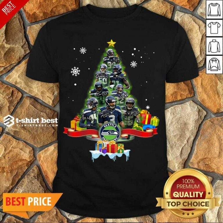 Official Seattle Seahawks Player Signatures Christmas Tree Shirt - Design By 1tees.com