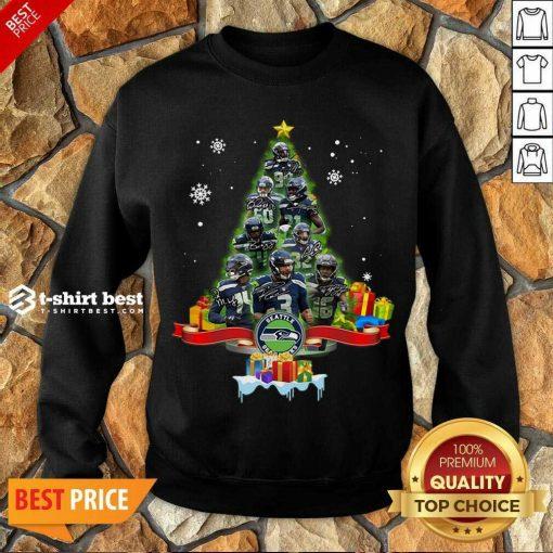 Seattle Seahawks Player Signatures Christmas Tree Sweatshirt - Design By 1tees.com