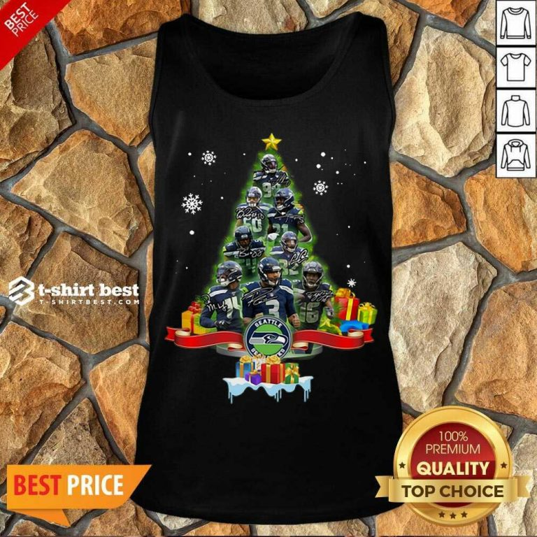 Seattle Seahawks Player Signatures Christmas Tree Tank Top - Design By 1tees.com