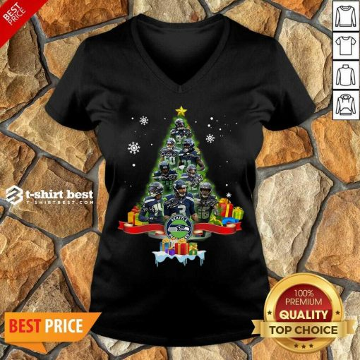 Seattle Seahawks Player Signatures Christmas Tree V-neck - Design By 1tees.com