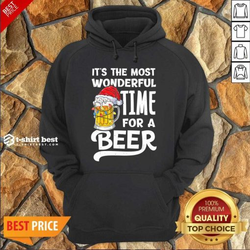 Beer Hat Santa It's The Most Wonderful Time For A Hoodie - Design By 1tees.com