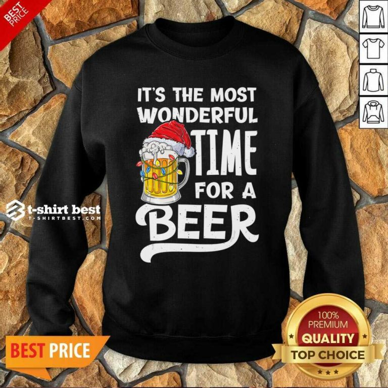 Beer Hat Santa It's The Most Wonderful Time For A Sweatshirt - Design By 1tees.com