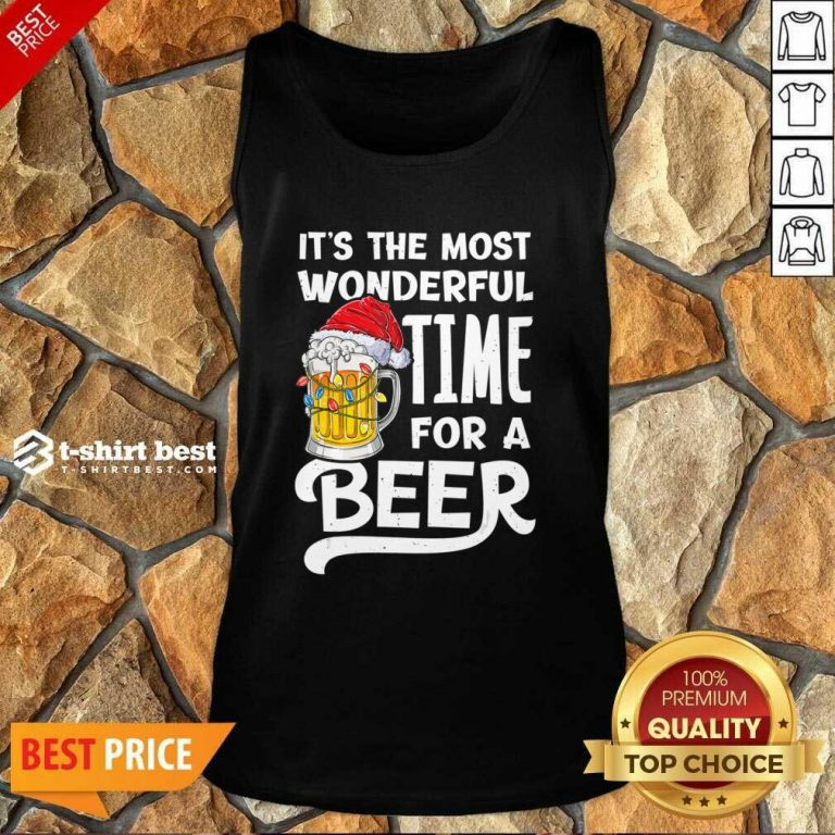 Beer Hat Santa It's The Most Wonderful Time For A Tank Top - Design By 1tees.com