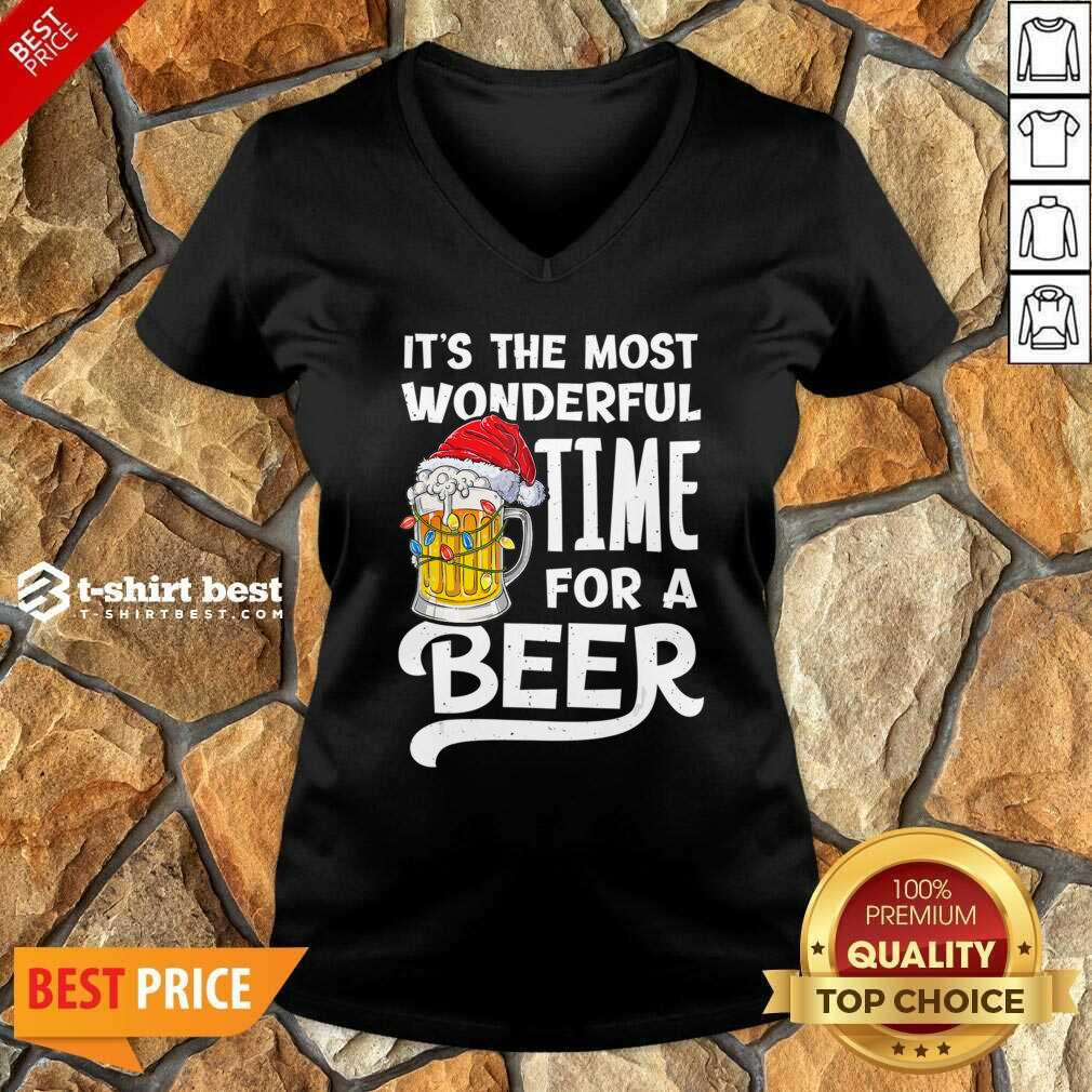 Beer Hat Santa It's The Most Wonderful Time For A V-neck - Design By 1tees.com