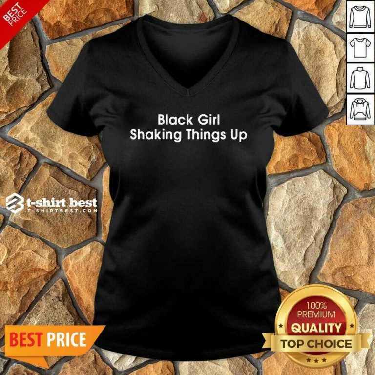Black Girl Shaking Things Up V-neck - Design By 1tees.com