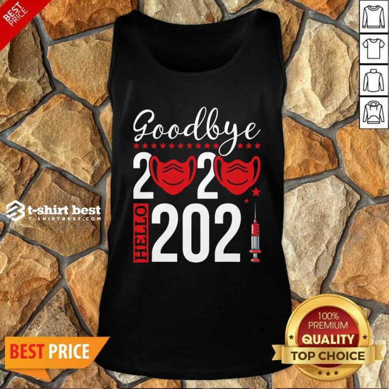 Goodbye 2020 Hello 2021 Mask Vaccine -Happy New Year Eve Tank Top - Design By 1tees.com