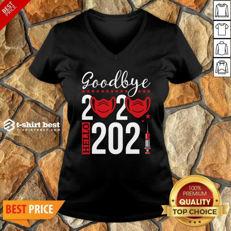 Goodbye 2020 Hello 2021 Mask Vaccine -Happy New Year Eve V-neck - Design By 1tees.com