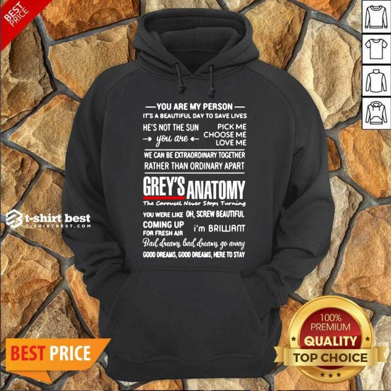 Grey's Anatomy You Are My Person He's Not The Sun Hoodie - Design By 1tees.com