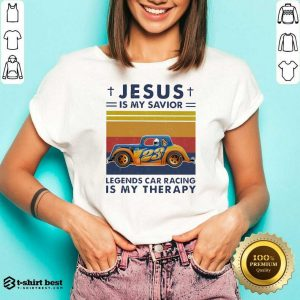 Jesus Is My Savior Legends Car Racing Is My Therapy Vintage V-neck - Design By 1tees.com