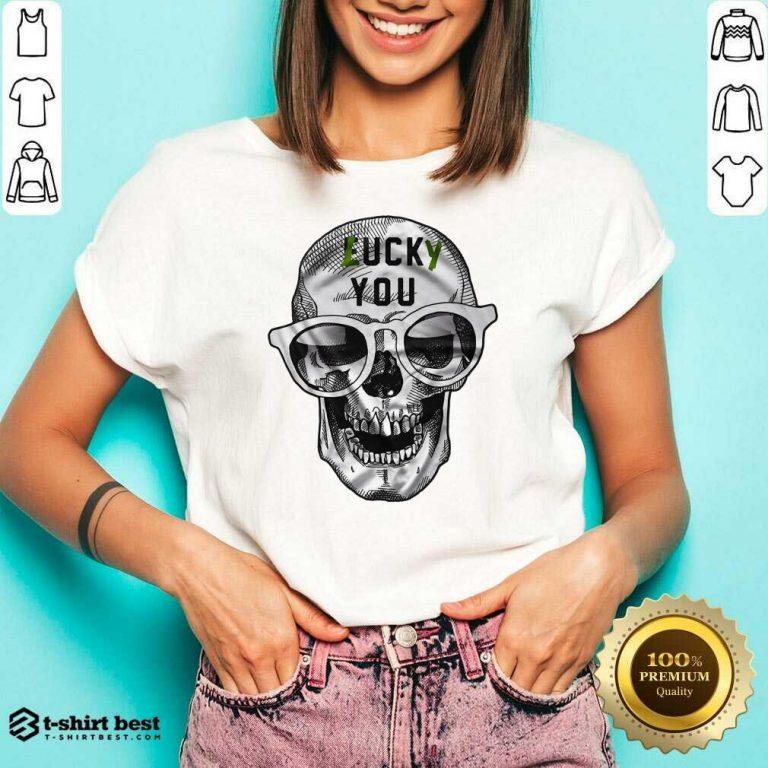 Skull Lucky You Fuck You V-neck - Design By 1tees.com