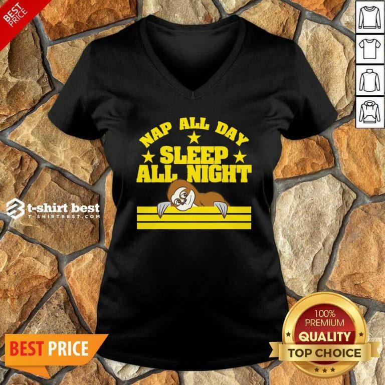 Sloth Nap All Day, Sleep All Night V-neck - Design By 1tees.com