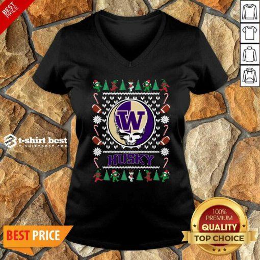 Washington Huskies Grateful Dead Ugly Christmas V-neck - Design By 1tees.com