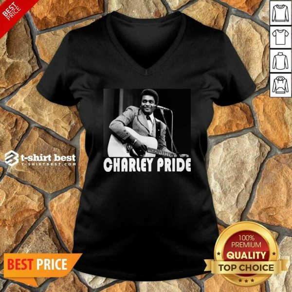 Charley Pride Playing Guitar 2020 V-neck - Design By 1tees.com