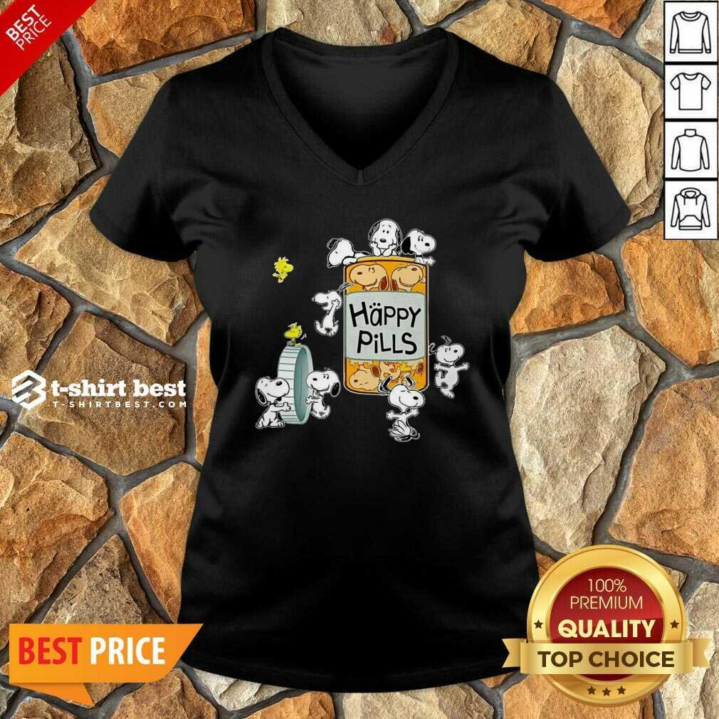 Snoopy And Woodstock Happy Pills V-neck - Design By 1tees.com