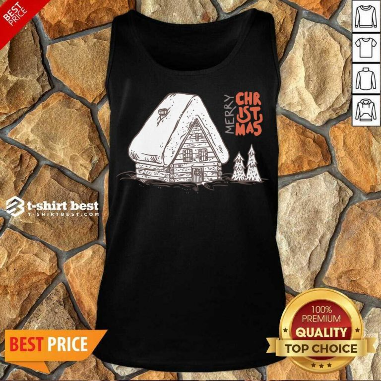 Winter Vacation Home Wooden House Merry Christmas Time Tank Top - Design By 1tees.com
