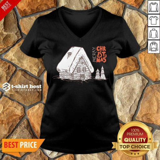 Winter Vacation Home Wooden House Merry Christmas Time V-neck - Design By 1tees.com