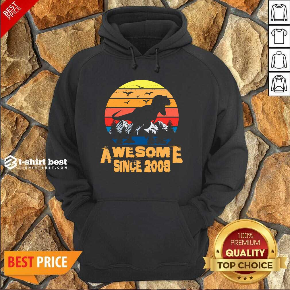 Vintage Since 2008 13 Year Old 13th Birthday Gift For Dinosaur Boy Hoodie - Design By 1tees.com