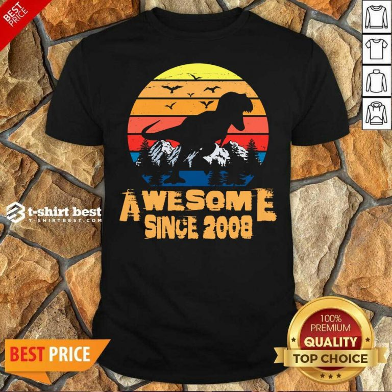 Premium Vintage Since 2008 13 Year Old 13th Birthday Gift For Dinosaur Boy Shirt - Design By 1tees.com