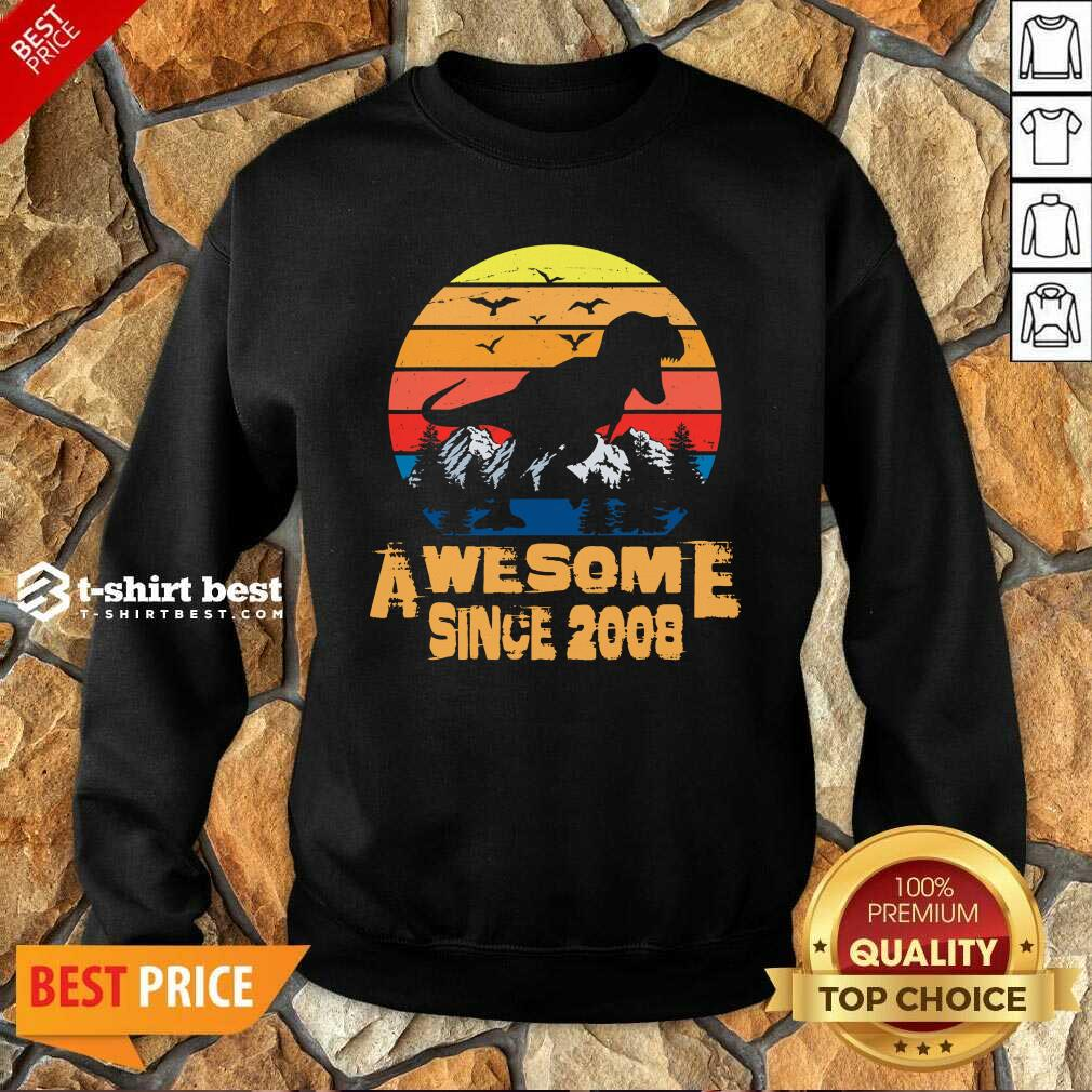 Vintage Since 2008 13 Year Old 13th Birthday Gift For Dinosaur Boy Sweatshirt - Design By 1tees.com