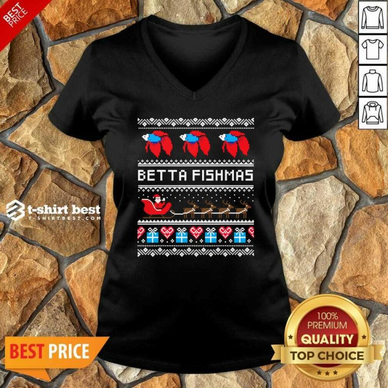 Betta Fishmas Ugly Christmas V-neck - Design By 1tees.com