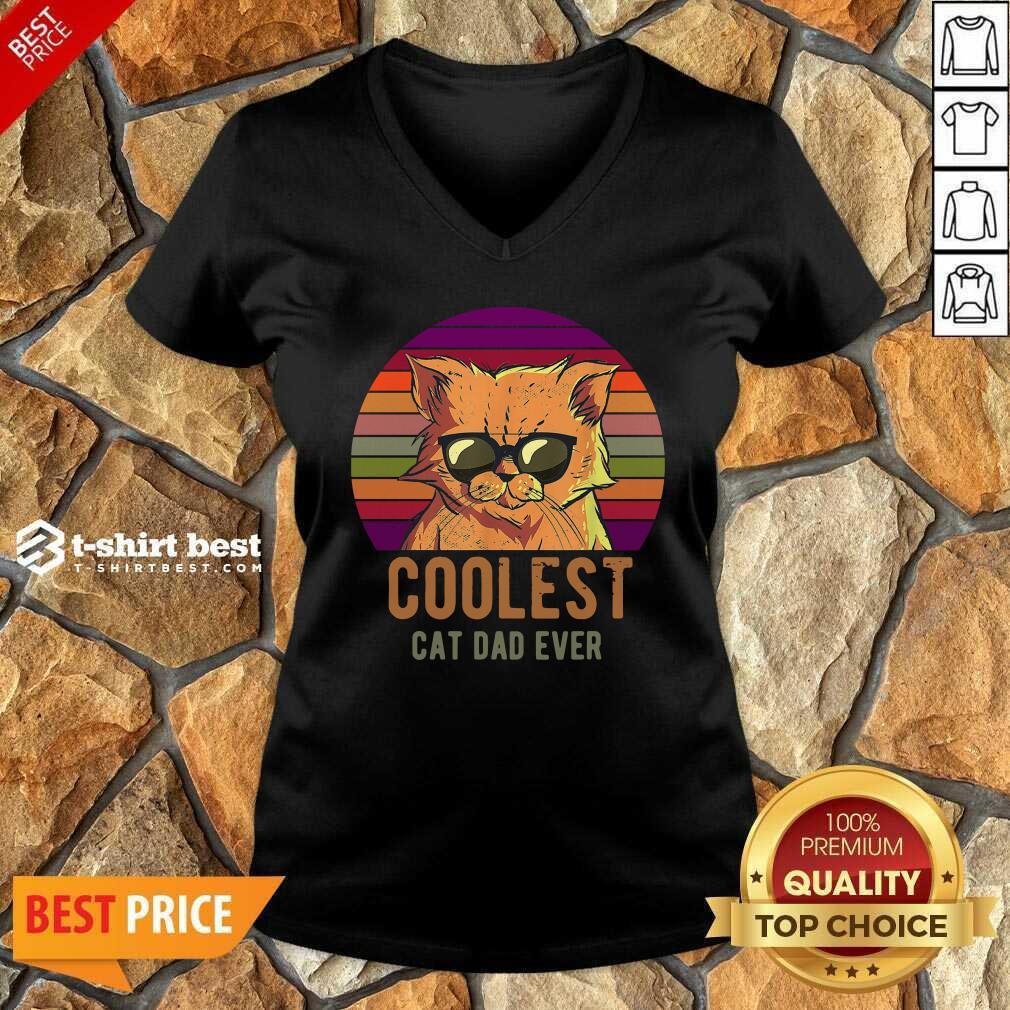 Coolest Cat Dad Ever Vintage V-neck - Design By 1tees.com