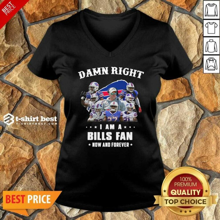 Damn Right I Am A Buffalo Bills Fan Now And Forever Signatures V-neck - Design By 1tees.com