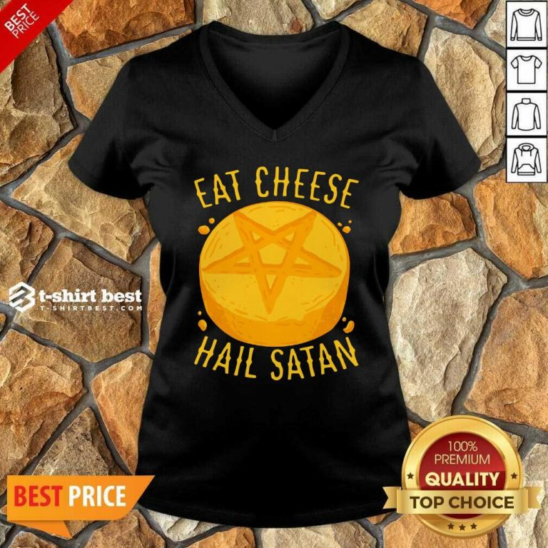 Eat Cheese Hail Satan V-neck - Design By 1tees.com
