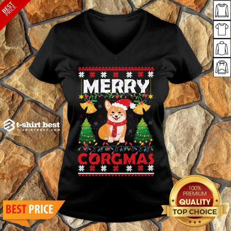 Merry Corgmas For Christmas Season V-neck - Design By 1tees.com