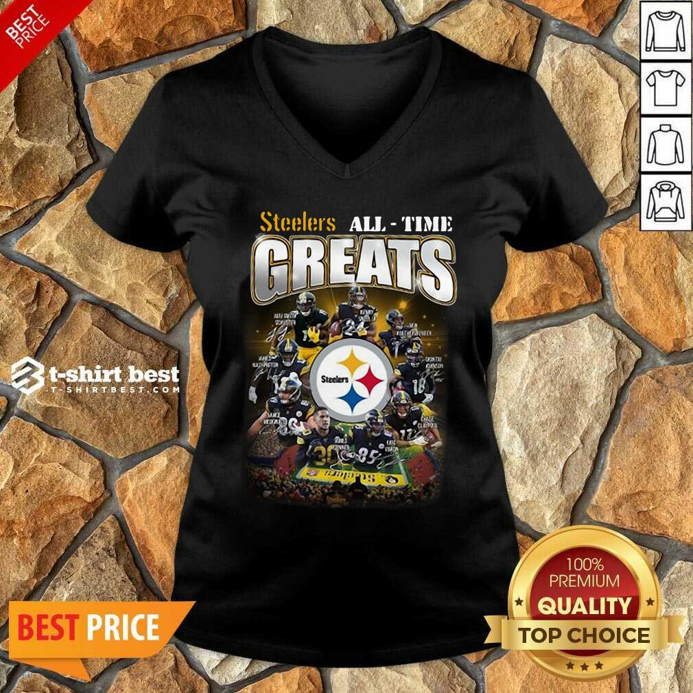 Pittsburgh Steelers All Time Greats Signatures V-neck - Design By 1tees.com