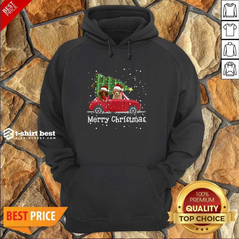 Poodle Red Car Truck Christmas Tree Santa Xmas Dog Merry Christmas Hoodie - Design By 1tees.com