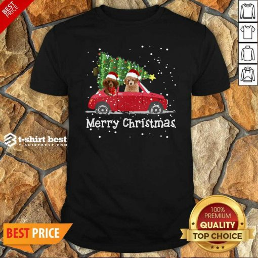 Premium Poodle Red Car Truck Christmas Tree Santa Xmas Dog Merry Christmas Shirt - Design By 1tees.com