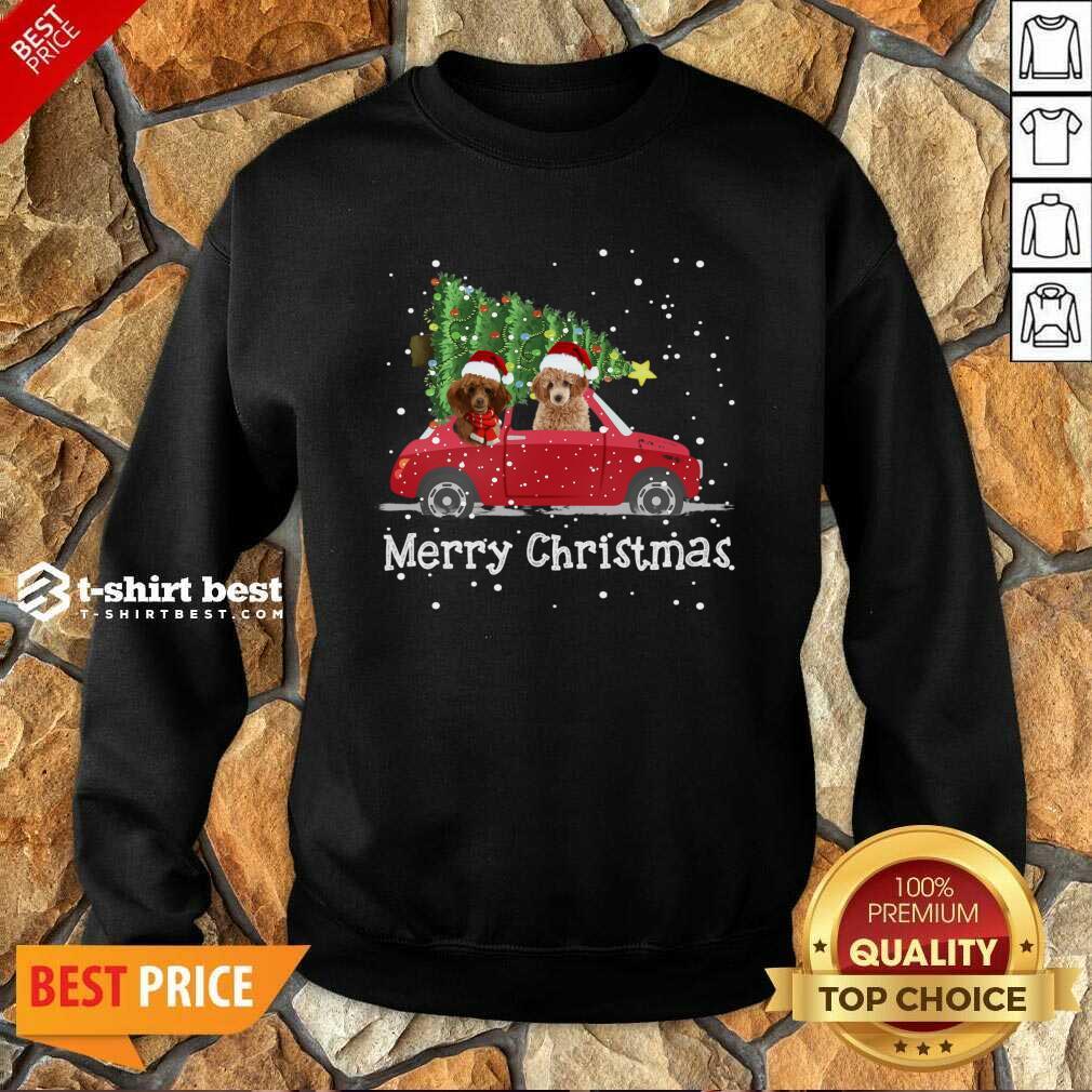 Poodle Red Car Truck Christmas Tree Santa Xmas Dog Merry Christmas Sweatshirt - Design By 1tees.com