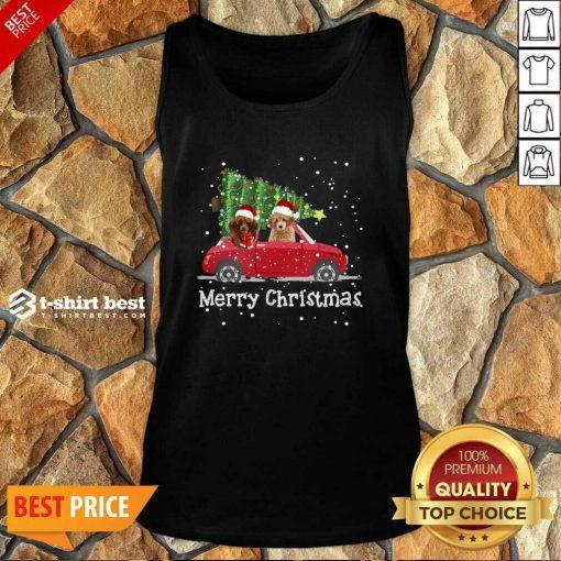 Poodle Red Car Truck Christmas Tree Santa Xmas Dog Merry Christmas Tank Top - Design By 1tees.com