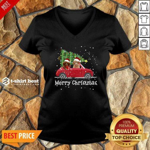Poodle Red Car Truck Christmas Tree Santa Xmas Do g Merry Christmas V-neck- Design By 1tees.com