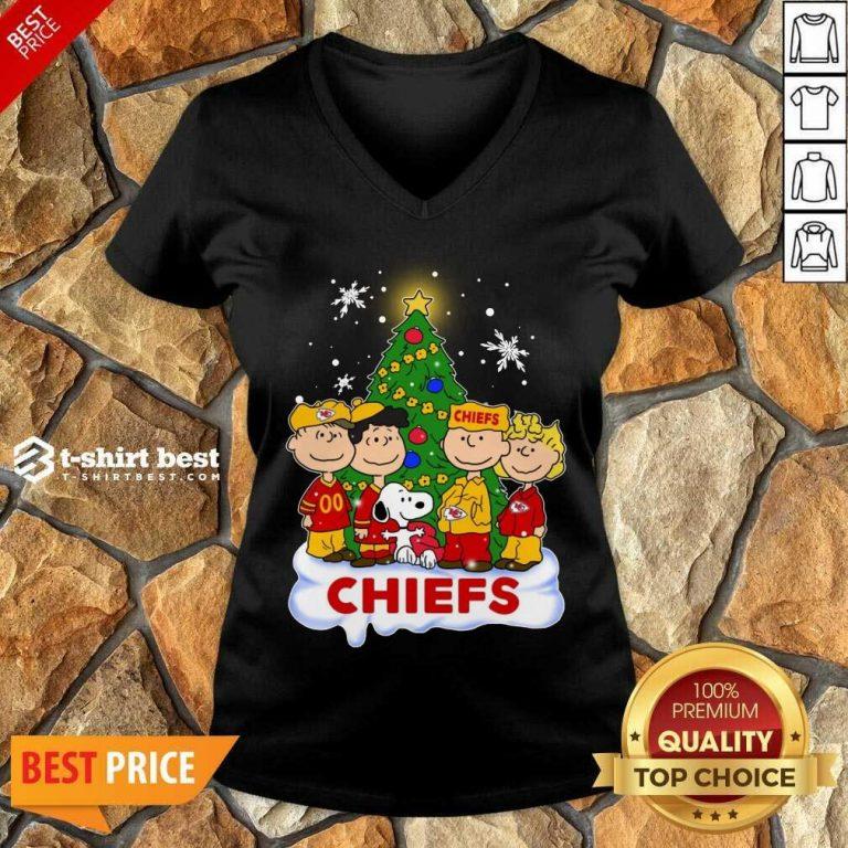 Snoopy The Peanuts Kansas City Chiefs Christmas V-neck - Design By 1tees.com