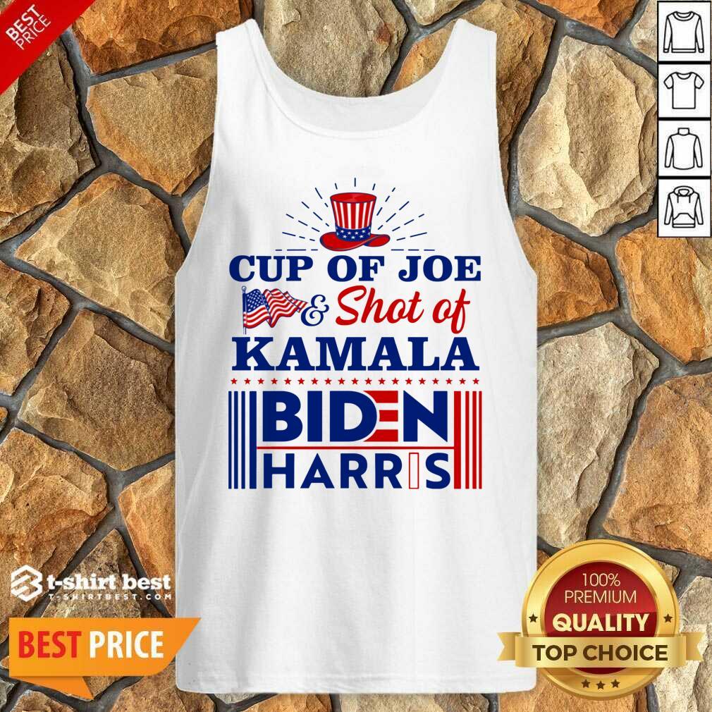 American Flag Cup Of Joe And Shot Of Kamala Biden Harris Tank Top - Design By 1tees.com