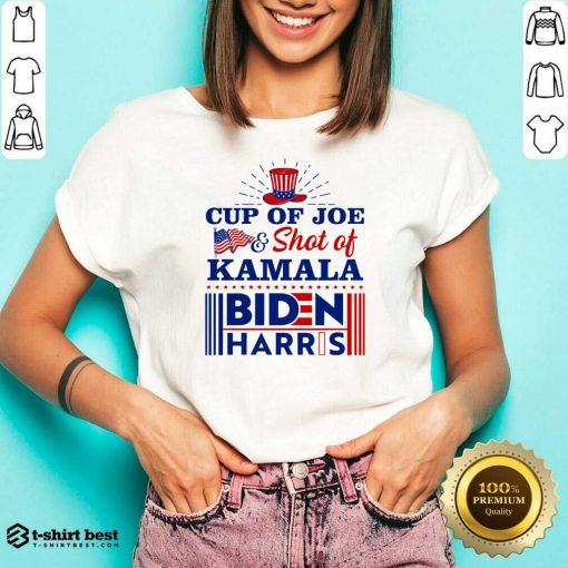 American Flag Cup Of Joe And Shot Of Kamala Biden Harris V-neck - Design By 1tees.com