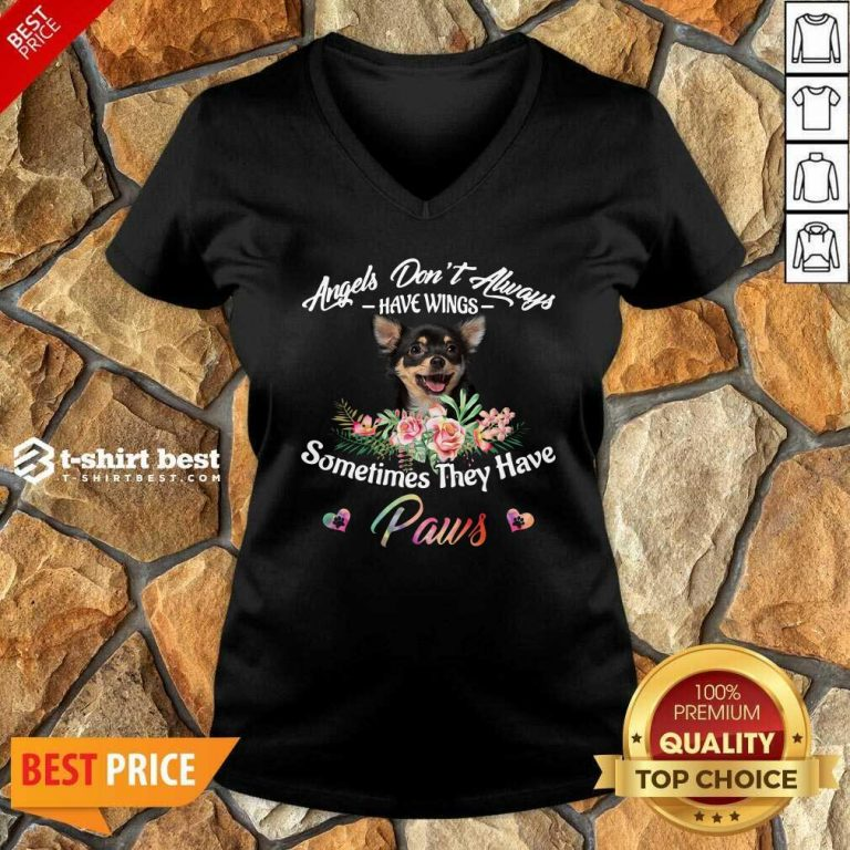 Angels Don't Always Have Wings Chihuahua Sometimes They Have Paws V-neck - Design By 1tees.com