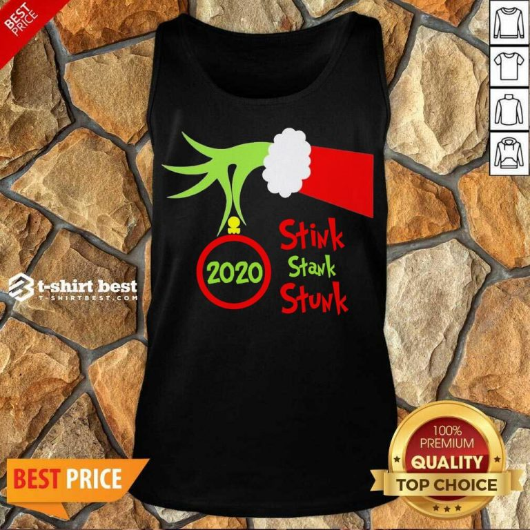 Grinch Hand Holding Ornament 2020 Stink Stank Stunk Merry Christmas Tank Top - Design By 1tees.com